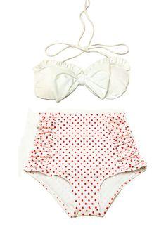 White Bow Top and White Polka dot Highwaisted High Waisted Waist High-Waist Swimsuit Swimwear Bikini Bathingsuit Bathing Swim suit dress S M, $39.99