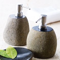 Made from a natural river stone, this dispenser can be used for lotion or liquid soap by your bathroom or kitchen sink. Its stylish, organic design makes it a breeze to fit into any décor.
