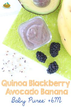 Quinoa Blackberry Banana Avocado baby puree Quinoa Blackberry Banana Avocado baby puree A brain boosting nutritious meal for your little one. Sweet and creamy, loaded with good fats. via BuonaPappa BabyFood&KidRecipes Avocado Baby Puree, Avocado Baby Food, Healthy Baby Food, Baby Puree Recipes, Pureed Food Recipes, Baby Food Recipes, Healthy Recipes, Baby First Foods, Baby Finger Foods