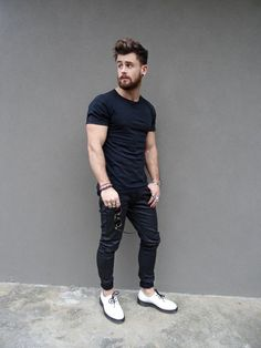 Black on Black-Black Plain Tshirt styled with black denims and white boots