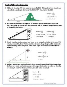 Printables Angle Of Elevation And Depression Worksheet activities depression and angles on pinterest geometry of elevation notes practic