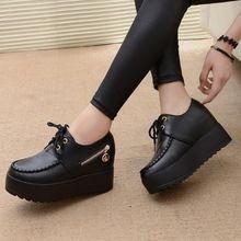 2017 Nueva Negro Blanco con Cuña Oculta Moda Ascensor Zapatos de Las Mujeres de LA PU Zapatos Ocasionales Para Las Mujeres Plataforma de tacón de Cuña zapatos(China (Mainland))
