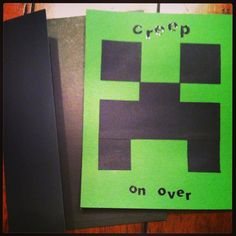 Minecraft hand-made invitations, for Will