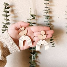 Minimalist Statement Arches in Off White/Tan Handmade Polymer Clay Dangle Earrings / Geometric Earrings / Clay Earrings / Arch Earrings Handmade Polymer Clay, Polymer Clay Jewelry, Diy Clay Earrings, Dangle Earrings, Pendant Necklace, Earring Trends, Minimalist Earrings, Clay Crafts, Bullet Jewelry