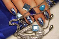 Silver nails with blue patterns :: one1lady.com :: #nail #nails #nailart #manicure