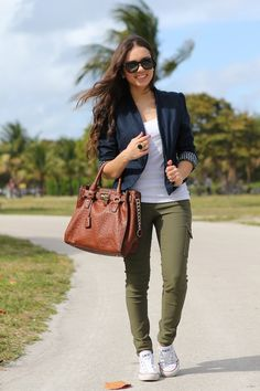 Fall Outfit: Navy blue blazer + White Tank + green cargo skinnies + White Chucks/Converse Sneakers/Shoes