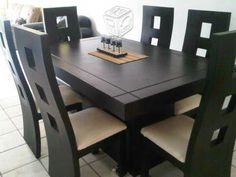 Decor Units: 30 Comfort & Contemporary Brown Wood Tables With Chairs & Furniture Wooden Dining Table Designs, Dinning Table Design, Dining Room Furniture Design, Coffee Table To Dining Table, Dining Room Table Decor, Wooden Dining Room Chairs, Home Decor Furniture, Wood Tables, Dining Sets
