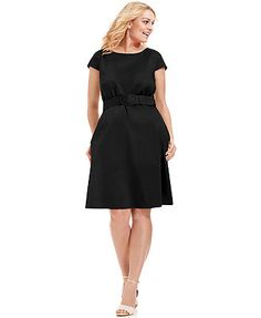 Spense Plus Size Cap-Sleeve Belted A-Line Dress