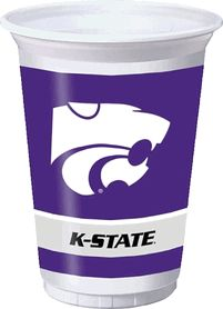 NCAA Kansas State University K-State Wildcats Plastic Cups, 20 Ounce, Set of 8, 374769 $5.00
