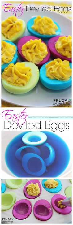 Frugal Coupon Living's Neon Deviled Eggs for Easter - Dye the Egg White, Not the Egg Shell. Other easter crafts and kids foods for the Spring Season.