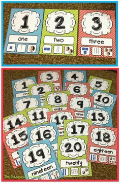 Number Posters - 27 Classroom Poster Sets: Free and Fantastic - Teach Junkie Numbers Preschool, Math Numbers, Kindergarten Classroom, Teaching Math, Teaching Ideas, Kindergarten Posters, Kindergarten Counting, Number Flashcards, Teaching Numbers