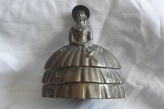 Vintage Ornate Lady Figure Hand Bell Small Brass Table Bell 4 inch
