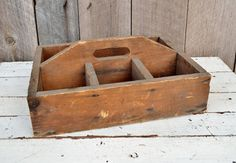 Vintage Wooden Tote Divided Handled by RelicsAndRhinestones