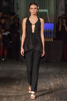 """Katie Gallagher Fall 2017 Ready-to-Wear Fashion Show - Model Agata walks runway in an outfit from the Katie Gallagher Fall 2017 """"Hallow"""" collection, at 72 Allen Street on February 9, 2017 at New York Fashion Week Fall 2017."""