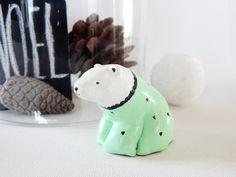 Polar bear figurine.  Miniature polar bear. Bear by DecorAsylum