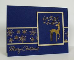 handmade Christas card from mnfroggie's Ink Pad ... navy blue and gold .. gold matting makes the panels  stand out ... gold embossed snowflakes and fanciful reindeer ... beautiful! ... Stampin' Up!