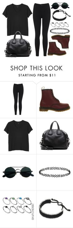 """""""Style #11123"""" by vany-alvarado ❤ liked on Polyvore featuring Miss Selfridge, Dr. Martens, Monki, Givenchy, Topshop, ASOS and Links of London"""