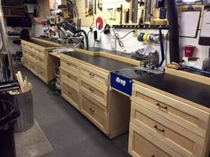 Custom work bench with built in kreg jig and Miter station