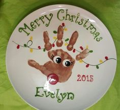 Cute reindeer handprint plate. Locally painted at Unpluggits Playstudio
