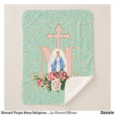 Blessed Virgin Mary Religious Catholic Cross Sherpa Blanket #catholic #traditionalcatholic #blessedvirginmary