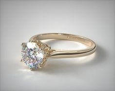 18k Yellow Gold Spring Blossom Six Prong Solitaire Engagement Ring | 17313Y - Mobile