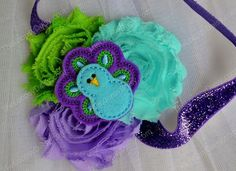 Halloween costume - Baby Girl Headband, Peacock Headband, peacock tutu, peacock birthday,Infant Shabby Headband, Shabby Chic Headband, newborn infant photo prop...