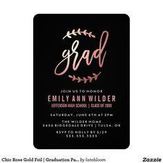 Chic Rose Gold Foil   Graduation Party 5x7 Paper Invitation Card