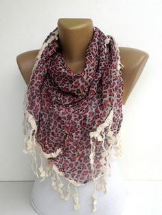 red animal print scarf women fashion accessory  by scarvesCHIC, $19.50