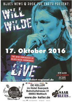"""Oktoberblues im De KELLER #Mettlach Beginn 20:00 Uhr  Der Liv... Oktoberblues im De KELLER #Mettlach Beginn 20:00 Uhr  Der Live Musikclub mit der einzigartigen Wohnzimmer Atmosphaere  17. Oktober 16 Will Wilde & #Band """"english #blues harp""""  Will Wilde Motto und Credo: Blas dem #Blues den #Blues - Power fuer Seele und Beine. Immer wieder grandios: das Zusammenspiel von Harp und http://saar.city/?p=30556"""