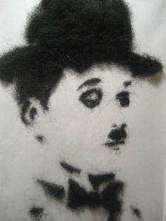 Felted wool painting - Charlie Chaplin needle felted painting -Art & Collectibes- vector painting - Charlie Chaplin