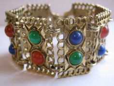 Vintage Bracelet Wide Gold Tone Etruscan Style Panels With Jewel Tone Cabochons