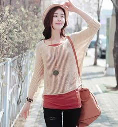 Autumn Sweet Slim fit Pullover knit Loose Hollow out Dolman sleeves Two pieces