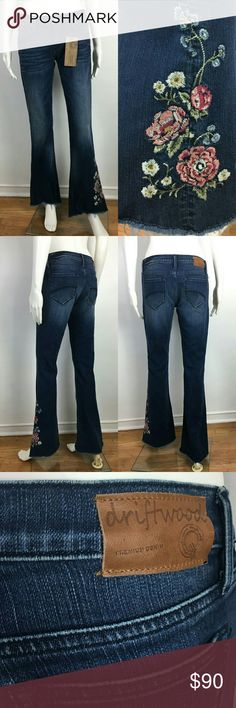 "Free People Eva Embroidered Flare Jeans Driftwood These Free People Eva flare Jeans by Driftwood are the best! So cute and so comfy. Made with lux denim and a touch of spandex to make them look and feel so amazing on. Unfinished raw hem   Measurements: Waist lying flat on one side 15"" Low rise of 8"" Inseam 33""  Brand new with tags! Free People Jeans Flare & Wide Leg"