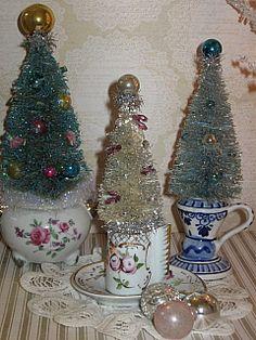 bottle brush trees in teacups