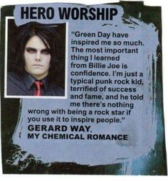 I can't prove that this is a real article, but I know for sure that Green Day is a big inspiration for MCR.