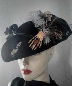 Kostüm Zubehör eleganter Damen Miniatur Hut Pirat Karneval Fasching Rub