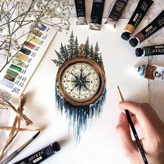 Compass, mountains, river of stars flows tattoo. Mountain antique compass and mi …… – Tatoo trends, noel plans, best ideas Nature Tattoos, Body Art Tattoos, Forest Tattoos, Watercolor Paper, Watercolor Paintings Tumblr, Watercolor Heart, Tattoo Watercolor, Painting & Drawing, Deep Drawing