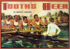 Tooths Rowing retro pub art bar poster reproduction Large 450mm x 320mm. $13.00, via Etsy.