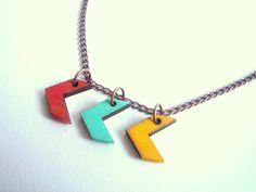Chevron Necklace, Wood Arrow Necklace,Zig Zag Necklace,Geometric Jewelry via Etsy