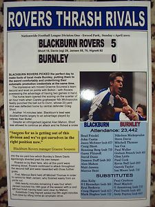 BLACKBURN ROVERS 5 BURNLEY 0 - 2001 - SOUVENIR PRINT