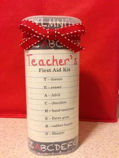 Teacher Gifts : First day teacher gift. I've been looking for a way to reuse those nice plastic crystal light containers I keep saving. It was perfect for this teacher's first aid kit. Back to School Teacher Gifts Survival Kit For Teachers, Teacher Survival, Diy Pour La Rentrée, Crystal Light Containers, Homemade Teacher Gifts, New Teacher Gifts, Teacher Gift Baskets, Teacher Treats, Presents For Teachers