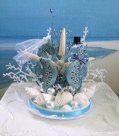 Seahorse Wedding Cake Topper Seashell Beach by CeShoreTreasures