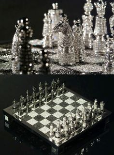 Charles Hollander has produced some of the most luxurious items for collectors. One of their top items is the 'Royal Diamond Chess Set' , w. Royal Diamond, Chess Set Unique, Play Therapy Techniques, Chess Table, Kings Game, Chess Players, Family Game Night, Family Games, Game Room Design
