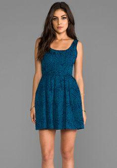 Jack by BB Dakota Corrine Jacquard Woven Dress in Aqua Teal