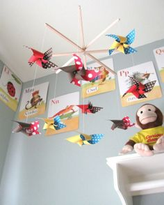 curious george nursery | Pinwheel Baby Crib Mobile George is Curious by mamax2 on Etsy, $65.00