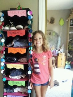 Sterling's school clothes organizer!