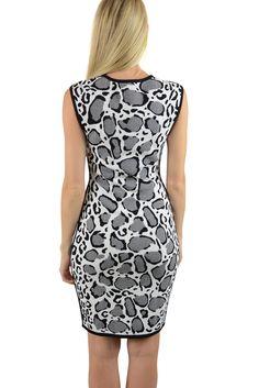 feaea2c47fbac7 Ohne Titel Womens Black White Leopard Bodycon Sleeveless Tank Dress XS. AJM  FASHIONS
