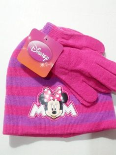 Disney Minnie Mouse PINK Gloves Beanie Set Youth Sizes by Disney. $9.59. The matching gloves feature ribbed trim and contrast edging. Both pieces are knit from soft, itch-free acrylic.   One Size Fits Most 100% Acrylic   Hand Wash Cold Hand Wash Cold