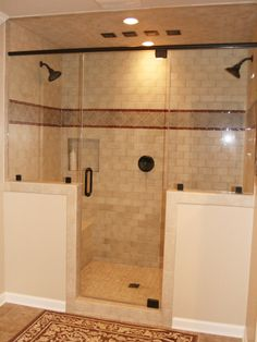 I like the 2 shower heads and the openness, not the tile (Master Bath)
