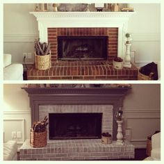 Fireplace before and after. I like how the brick wasn't fully painted over, still has character not completely white.